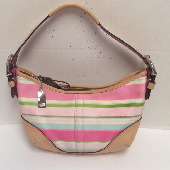 6a073f20516 Coach Bags   New Hampton Stripe Small Leather Hobo   Poshmark